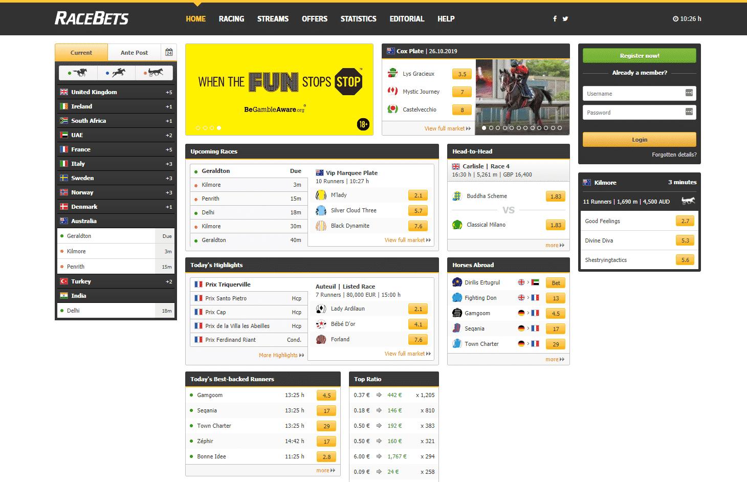 Screenshot von RaceBets